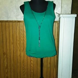 Green tank with necklace attached